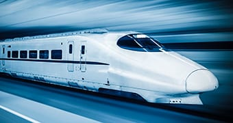 image of high speed train with blurred background