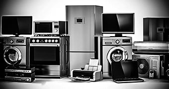black and white image of white goods